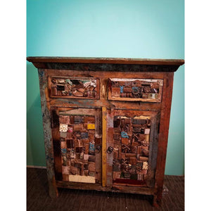 RECYCLED TIMBER OLD ARCHITECTURAL PIECES FITTED 2 DRAWERS 2 DOOR CABINET