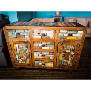 RECYCLED TIMBER 6 DRAWERS 2 DOOR SIDE BOARD