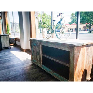 RECYCLED TIMBER BLOCK PRINT FITTED SINGLE DOOR PLASMA CABINET