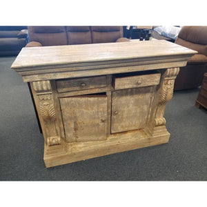 WDN. CARVED 2 DRAWERS 2 DOOR CABINET
