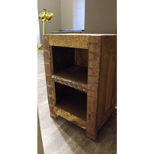 RECYCLED TIMBER CARVED BOOK SHELF