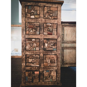 RECYCLED TIMBER OLD ARCHITECTURAL PIECES FITTED 10 DRAWERS CHEST