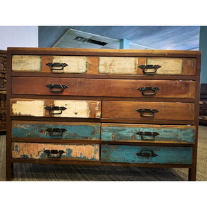 RECYCLED TIMBER IRON FRAME 8 DRAWERS CHEST
