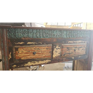 WDN. CARVED 2 DRAWERS CONSOLE TABLE