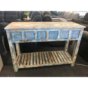 WDN. BLOCK PRINT FITTED CONSOLE TABLE