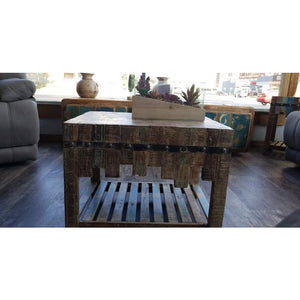 RECYCLED TIMBER METAL FITTED COFFEE TABLE