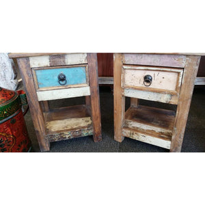 RECYCLED TIMBER 1 DRAWER SIDE TABLE