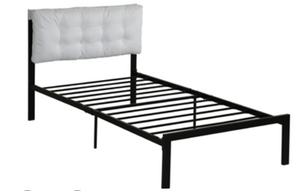 White Fabric Twin Bed