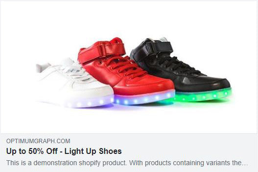 Shopify Facebook share with large thumbnail image