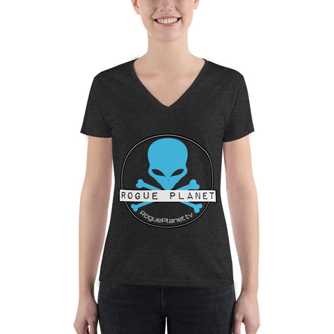 Women's Rogue Planet Alien Skull Fashion Deep V-neck Tee