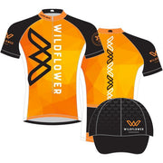 FREE HAT WITH PURCHASE: '35th Anniversary' Men's Sublimated Tech Full Zip SS Cycling Jersey - Orange / Black