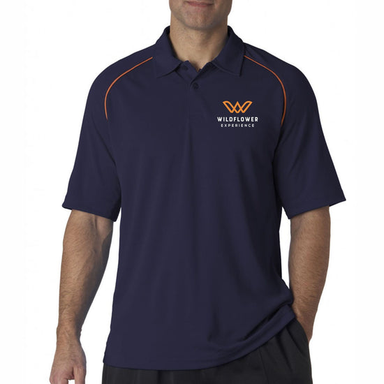 Classic 2-button polo in a performance, moisture-wicking and anti-microbial 100% polyester jacquard knit fabric, featuring mesh insets at side and underarm, and contrast piping. Item id wexthe202512m
