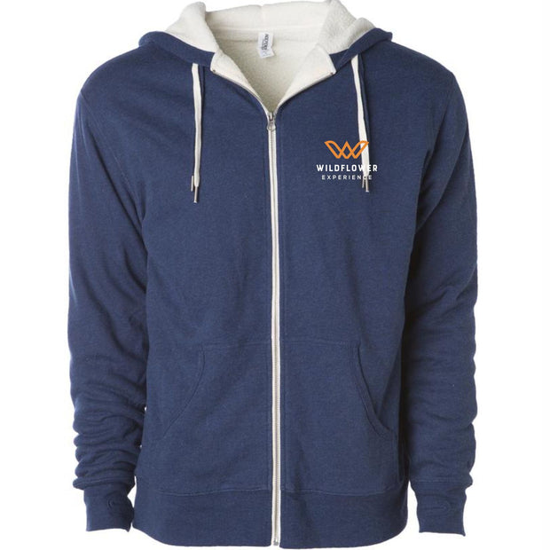 'Left Chest Embroidery' Men's Sherpa-Lined French Terry Full Zip Hoody - Navy Heather - by Independent Trading Co.