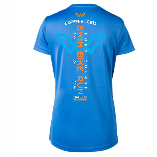 '2018 Long Course Finisher' Women's SS 'E2' Tech V-Neck Tee - Royal