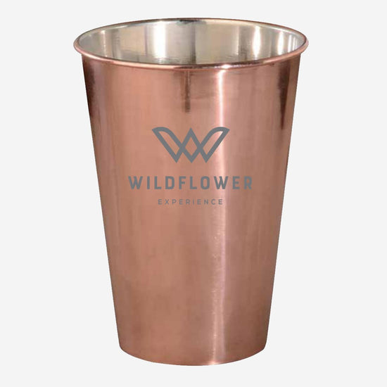 Copper-plated stainless steel Moscow Mule. 16 oz. capacity, emblazoned with the event logo. Item id wexthx976113n
