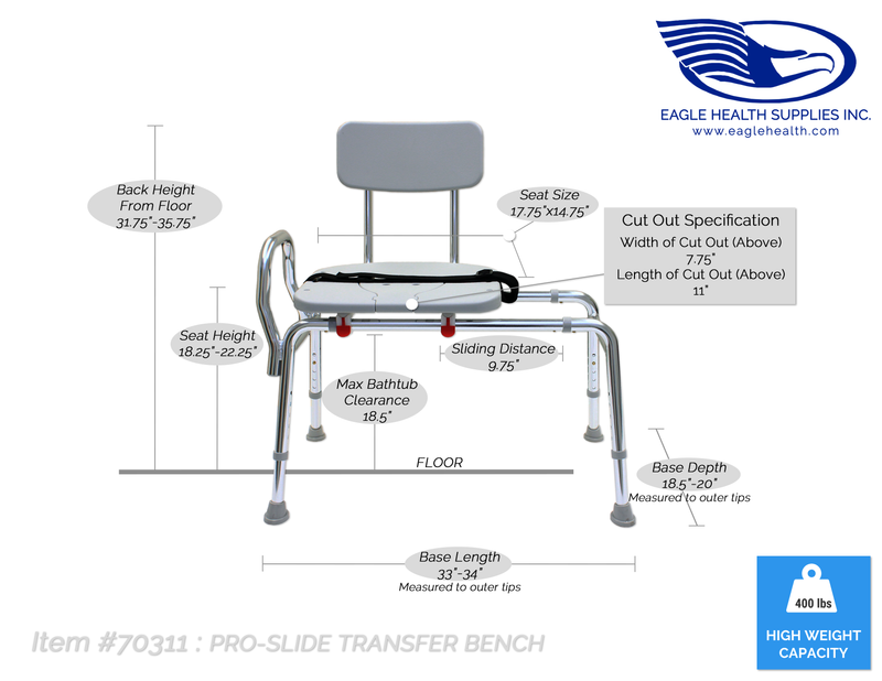 70311 - Pro-Slide Transfer Bench (with Cut-Out) - Eagle Health Supplies