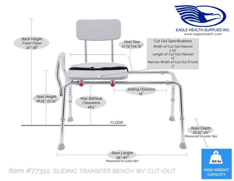 77311 - Sliding Transfer Bench with Cut-Out (Regular) - Eagle Health Supplies