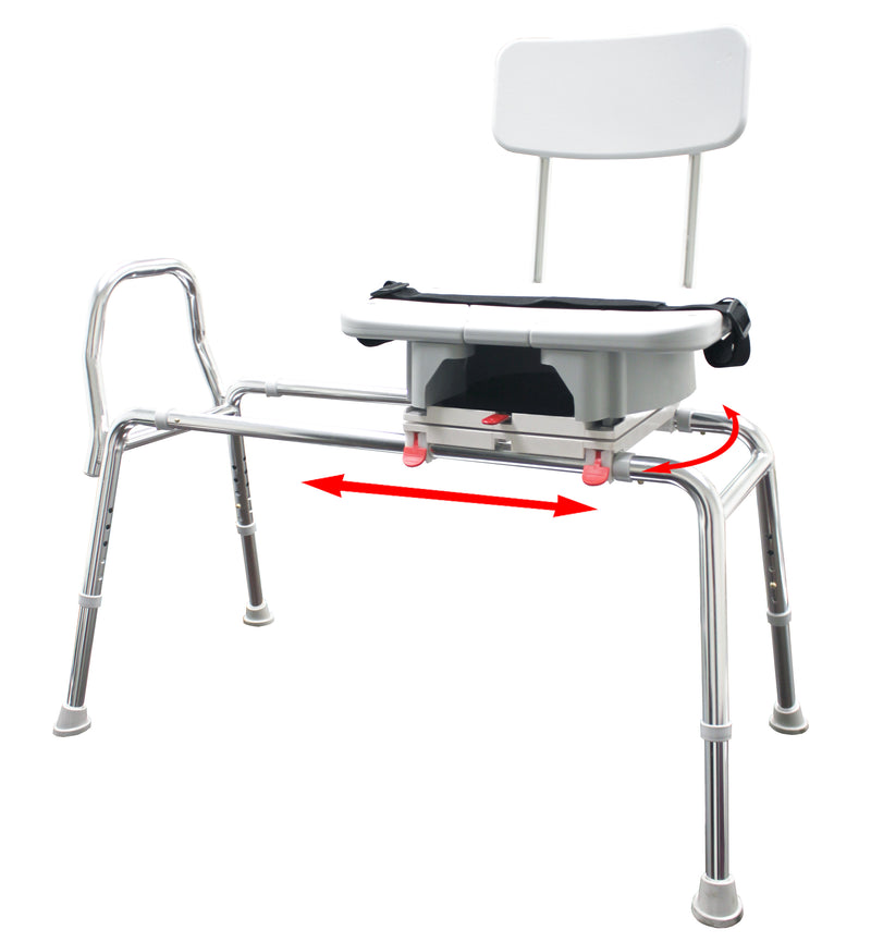 77663 - Swivel Sliding Transfer Bench w/Cut-Out (Regular) - Eagle Health Supplies