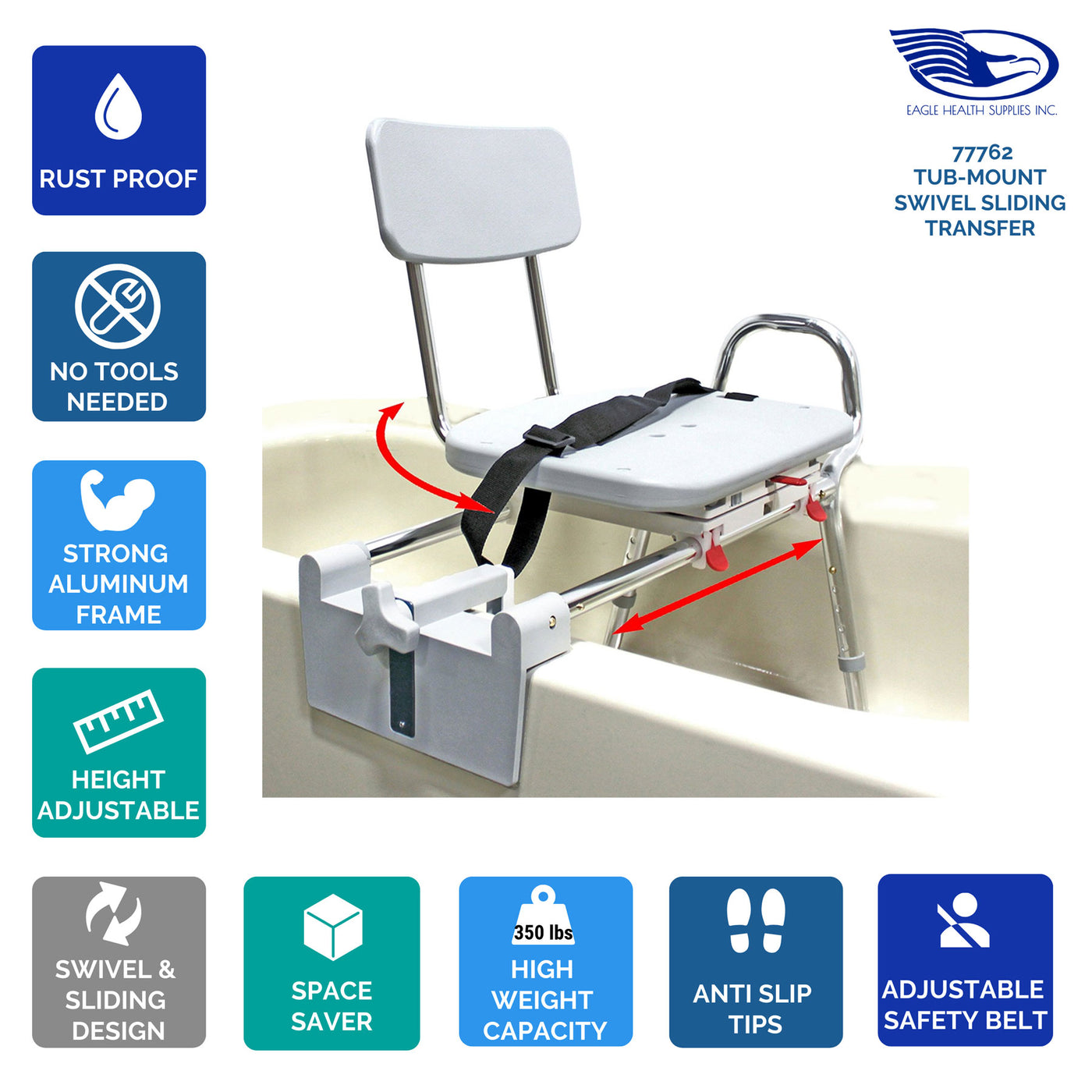 77762 - Tub-Mount Swivel Sliding Transfer Bench – Eagle Health Supplies