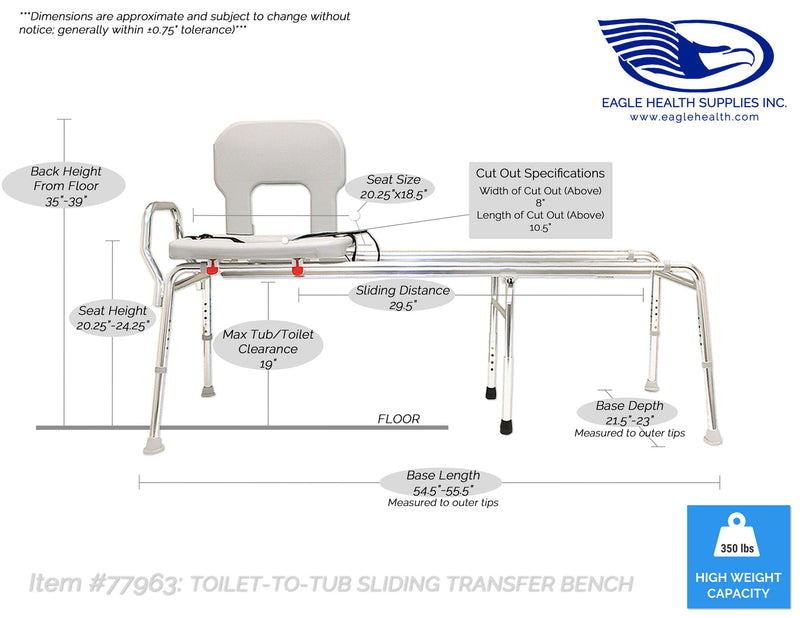 77963 - Toilet-to-Tub Sliding Transfer Bench (Long)