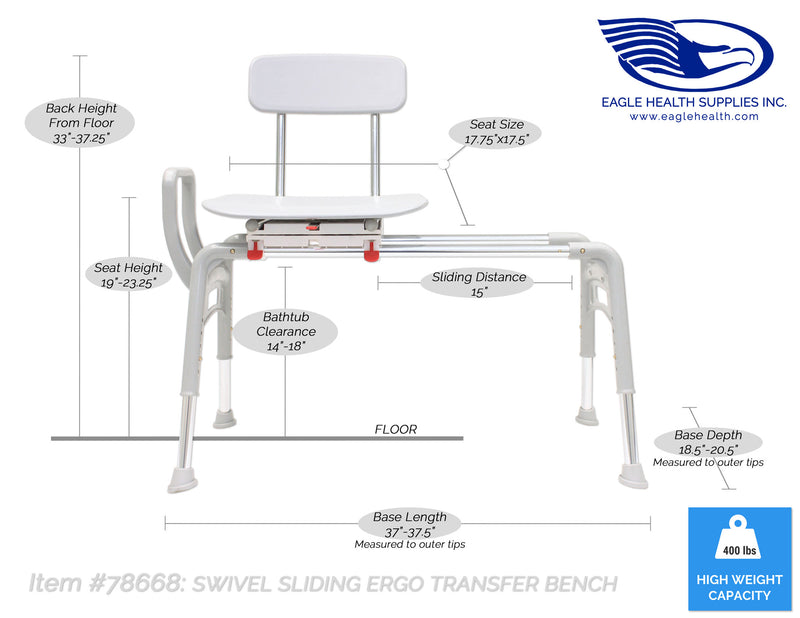 Specifications for 78668 - Swivel Sliding Ergo Transfer Bench (Regular)