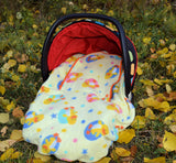 Peek-a-Boo Infant Car Seat Cover - Yellow Ducky Print