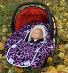 Peek-a-Boo Infant Car Seat Cover - Purple Leopard Print
