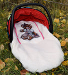 Peek-a-Boo Infant Car Seat Cover - Tapestry Teddy Bear