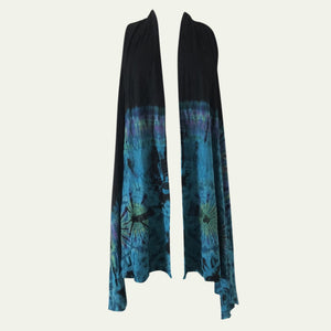 V2 - Long vest with pockets, half tie dye