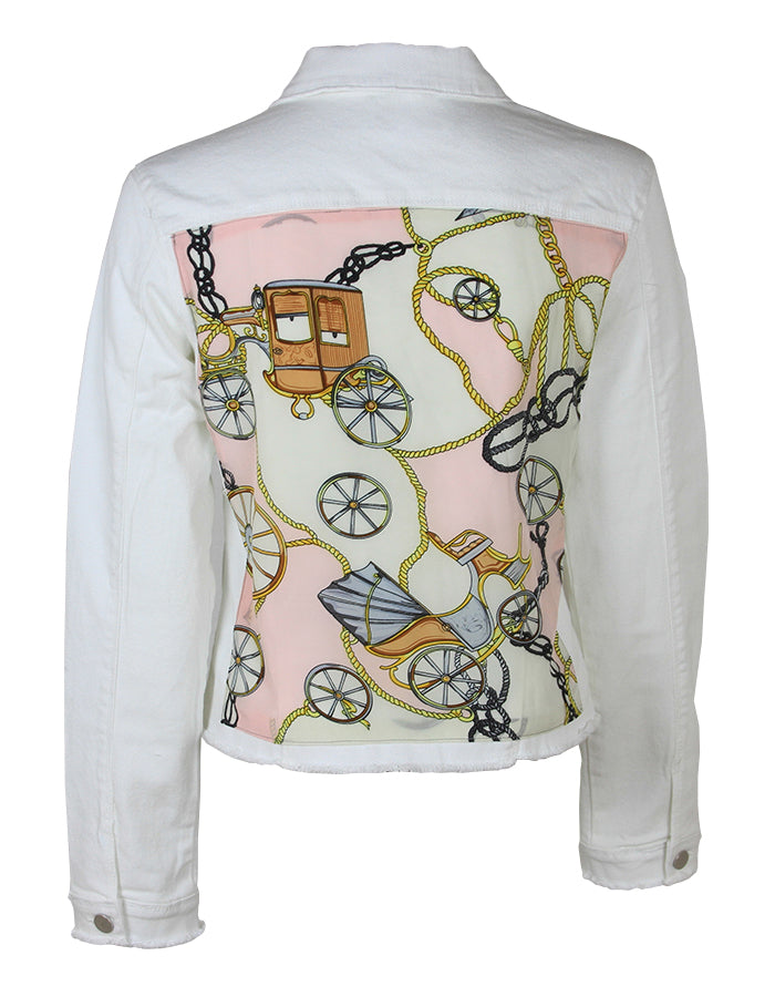 Women White Denim Jacket Pink Scarf - HTRAILZ