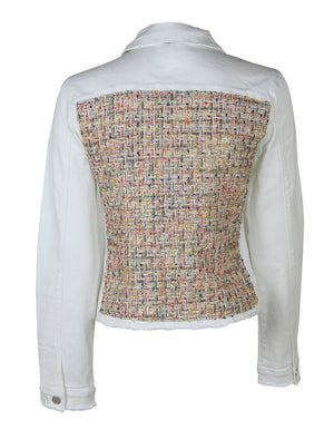 Women White Denim Jacket Tweed - HTRAILZ
