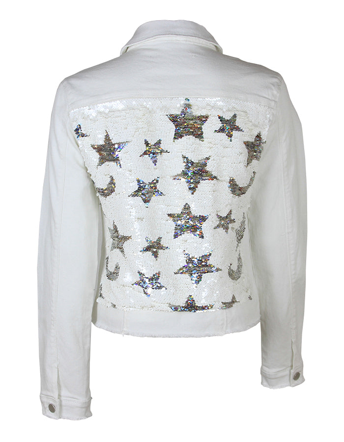 Women White Denim Jacket with Moons and Stars - HTRAILZ