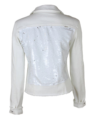 Women White Denim Jacket with White/Silver - HTRAILZ