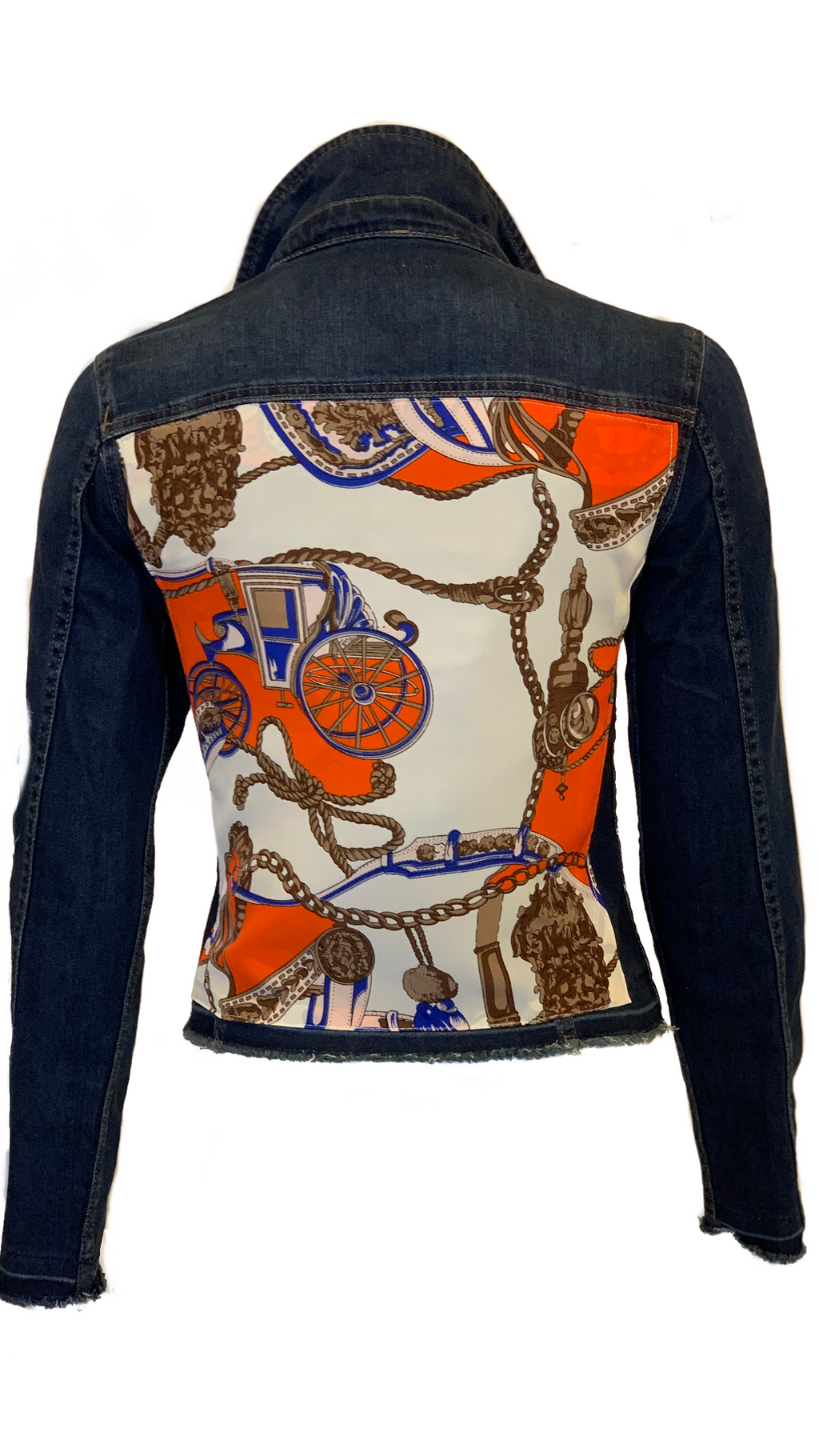 Women Dark Denim with Orange Scarf - HTRAILZ
