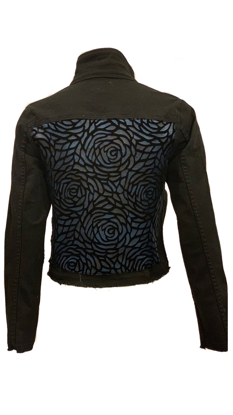 Women Jet Black Denim Jacket with Blue Velvet Flowers - HTRAILZ