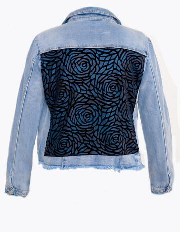 Woman Light Blue Denim Jacket w/ Navy Blue Velvet Flowers