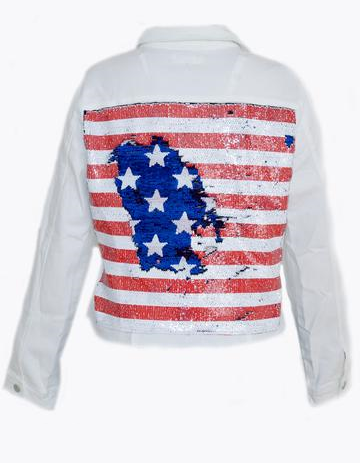 Woman White Denim Jacket Red/White/Blue Flag Reversible Sequins
