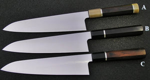 240mm Wa Gyutos in 52100 with KnivesandStones Handles