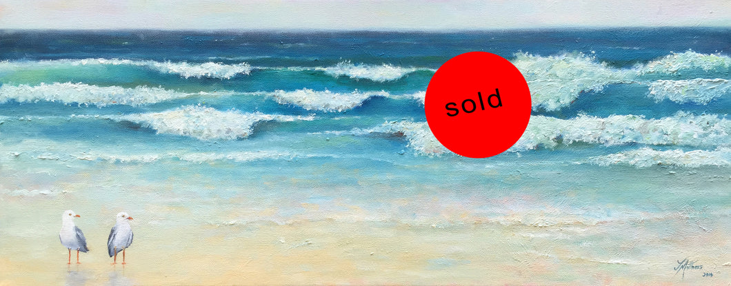 two seagulls  |  76x30cm  |  original oil painting | sold