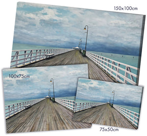 PRINT on CANVAS: storm over shorncliffe pier | from my original painting - multiple sizes available