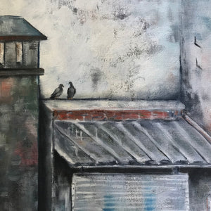 two pigeons  |  61x61cm  |  original oil painting
