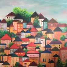 CANVAS PRINT 'houses on high' 75x75cm in stock