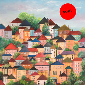 houses on high  |  61x61cm  |  original oil painting | sold