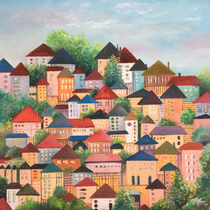 houses on high  |  61x61cm  |  original oil painting SOLD