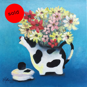 flower cow  |  30x30cm  |  original oil painting SOLD