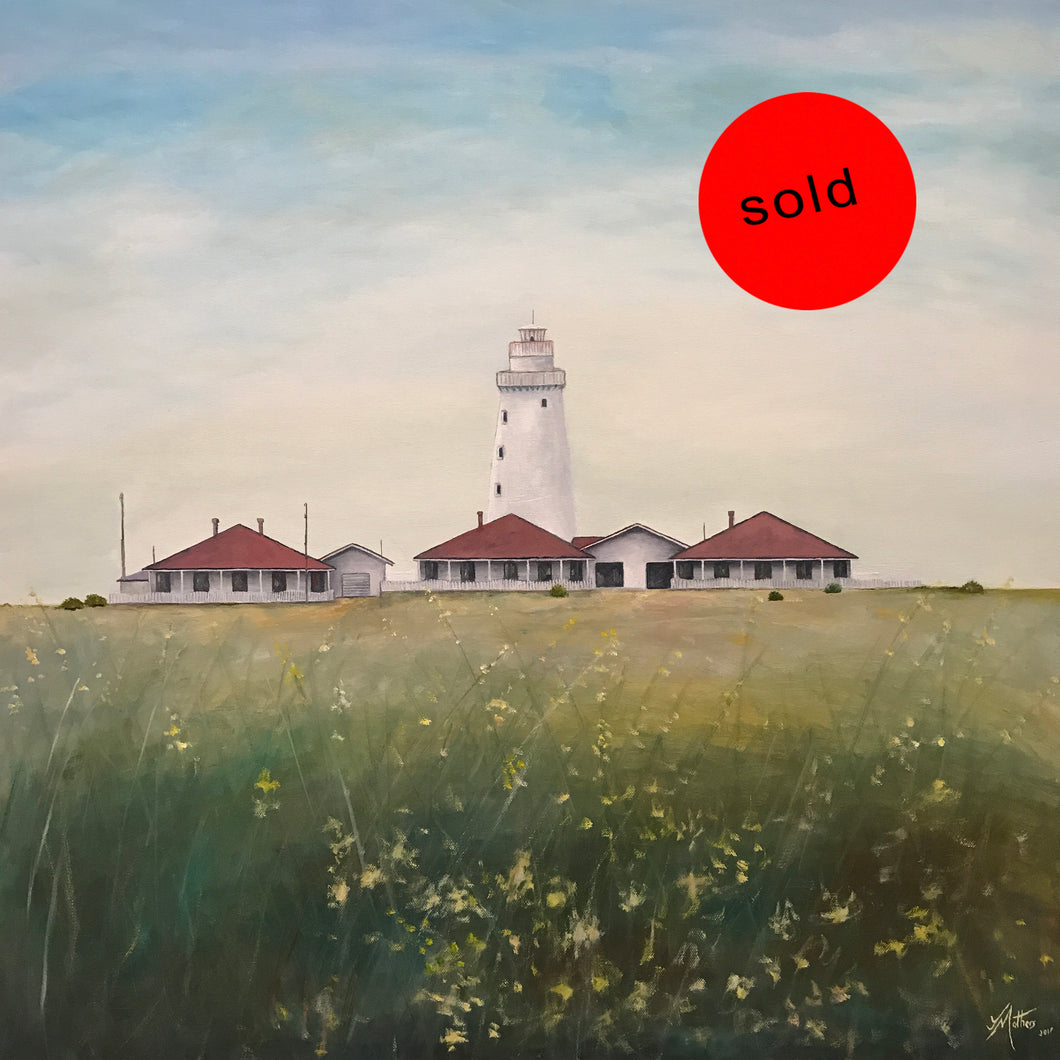 cape willoughby lighthouse kangaroo island   |  76x76cm  |  original oil painting | sold