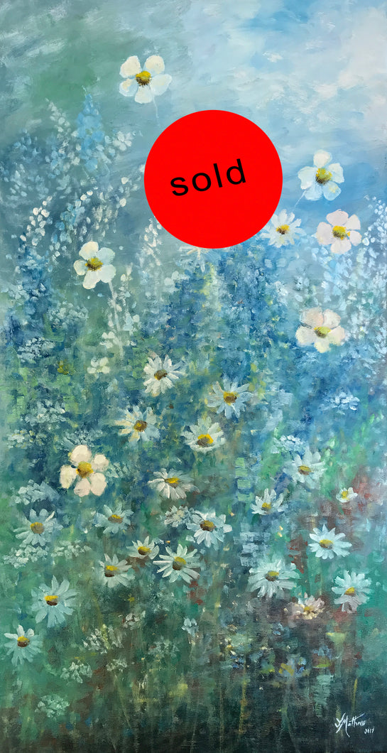 blue garden  |  45x91cm  |  original oil painting | SOLD