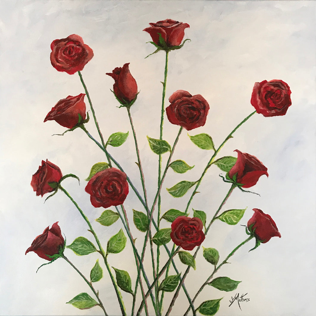 12 roses  |  51x51cm  |  original acrylic painting | sold