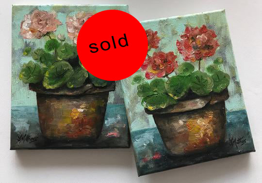geranium pots  |  2x20x25cm  |  original oil paintings | SOLD