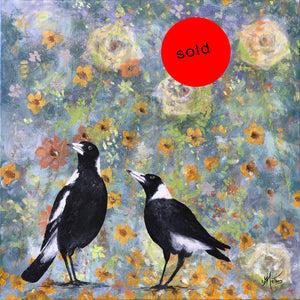 magpie magpie  |  50x50cm  |  original oil painting SOLD